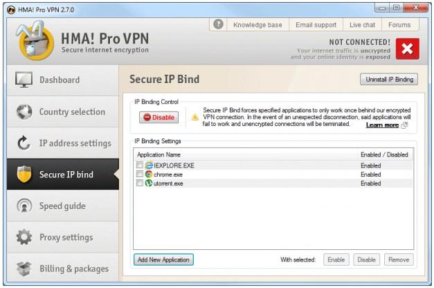 HideMyAss Secure IP Bind