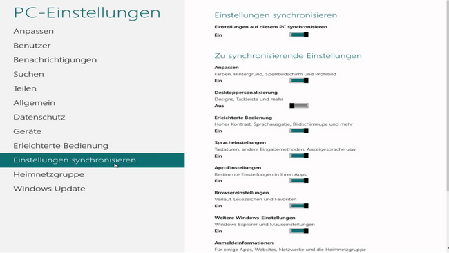 Windows 10 sync Einsellungen